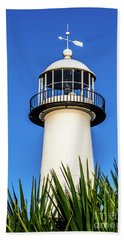 Hand Towel featuring the photograph Gulf Coast Lighthouse Seascape Biloxi Ms 3819a by Ricardos Creations