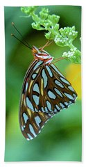 Gulf Fritillary On Butterfly Bush Hand Towel