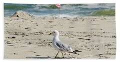 Hand Towel featuring the photograph Gull And Flag Rockaway Beach by Maureen E Ritter