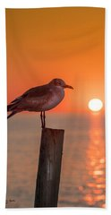 Gull And Sunset Bath Towel