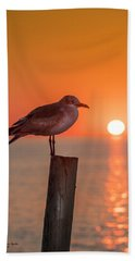 Gull And Sunset Hand Towel by Marvin Spates