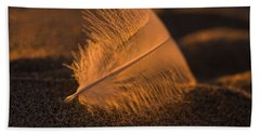 Gull Feather At Sunset Bath Towel
