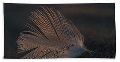 Gull Feather On A Beach Bath Towel