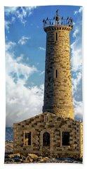 Gull Island Lighthouse Hand Towel by Anthony Dezenzio