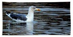 Gull On Winter's Pond  Hand Towel