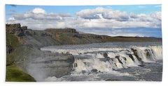 Gullfoss Waterfall Iceland Vi Bath Towel by Marianne Campolongo