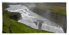 Gullfoss Waterfall No. 2 Hand Towel by Joe Bonita
