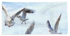 Gulls In Flight Watercolor Bath Towel