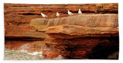 Gulls On Outcropping Bath Towel