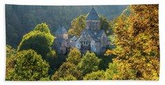 Haghartsin Monastery With Trees In Front At Autumn, Armenia Bath Towel by Gurgen Bakhshetsyan