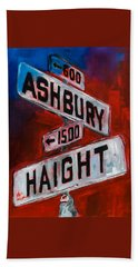 Bath Towel featuring the painting Haight And Ashbury by Elise Palmigiani