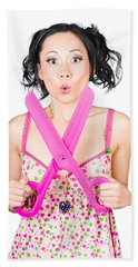 Hair And Beauty Model With Comic Scissor. Haircut Bath Towel
