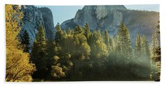 Half Dome And Merced River Autumn Sunrise Bath Towel