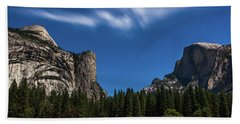 Half Dome And Moonlight - Yosemite Hand Towel
