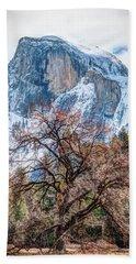 Half Dome Meadow Tree Winter Hand Towel