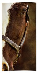 Half Face Horse Portrait Bath Towel