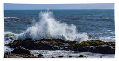 Wave Crashing On California Coast 1 Hand Towel