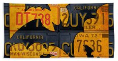 Halloween Bats Recycled Vintage License Plate Art Hand Towel by Design Turnpike