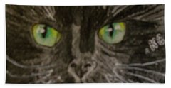 Hand Towel featuring the painting Halloween Black Cat I by Kathy Marrs Chandler