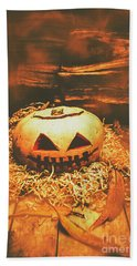 Halloween In Fall. Still Life Pumpkin Head Bath Towel