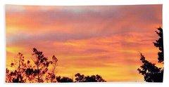 #halloween #morning #sky Is On #fire Bath Towel