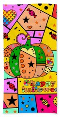 Halloween Popart By Nico Bielow Bath Towel