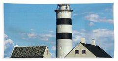 Halten Lighthouse Hand Towel by Anthony Dezenzio