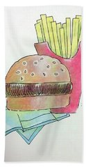 Hamburger With Fries Bath Towel