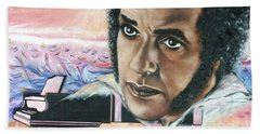 Hand Towel featuring the painting Hampton Hawes -jazz Pianist by Sigrid Tune