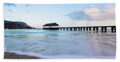 Hand Towel featuring the photograph Hanalei Bay Pier At Sunrise by Melanie Alexandra Price