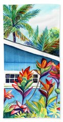 Bath Towel featuring the painting Hanalei Cottage by Marionette Taboniar