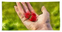 Hand And Raspberries - Da Hand Towel