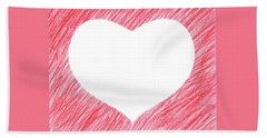 Hand-drawn Red Heart Shape Bath Sheet by GoodMood Art