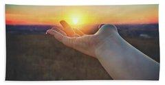 Hand Holding Sun - Sunset At Lapham Peak - Wisconsin Bath Towel by Jennifer Rondinelli Reilly - Fine Art Photography