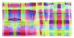 Hand-painted Abstract Gingham Weave Neon Rainbow Bath Towel