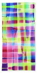 Hand-painted Abstract Gingham Weave Neon Rainbow Bath Towel