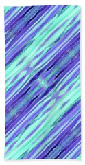 Hand-painted Abstract Stripes Teal Violet Turquoise Purple Bath Towel
