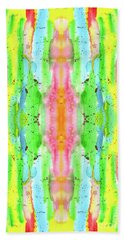 Hand-painted Abstract Watercolor In Bright Rainbow Hues Bath Towel