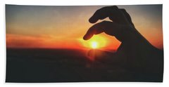 Bath Towel featuring the photograph Hand Silhouette Around Sun - Sunset At Lapham Peak - Wisconsin by Jennifer Rondinelli Reilly - Fine Art Photography