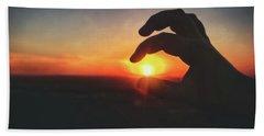 Hand Silhouette Around Sun - Sunset At Lapham Peak - Wisconsin Bath Towel by Jennifer Rondinelli Reilly - Fine Art Photography