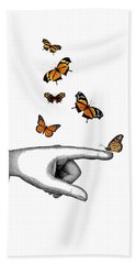 Hand With Orange Monarch Butterfly Hand Towel