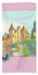 Hand Towel featuring the painting Handpainted Romantic Chateau Summer Garden by Judith Cheng
