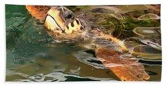 Hands Up For A Plastic Free Ocean Loggerhead Turtle Bath Towel