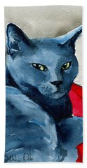 Handsome Russian Blue Cat Hand Towel