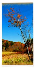 Hand Towel featuring the photograph Hanging On To Autumn by Joan  Minchak