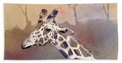 Hand Towel featuring the painting Hanging Out- Giraffe by Ryan Fox