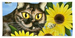 Hannah Tortoiseshell Cat Sunflowers Bath Towel