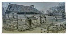 Hand Towel featuring the digital art Hannastown Log Cabin Two by Randy Steele