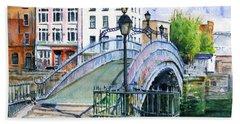 Ha'penny Bridge Dublin Bath Towel by John D Benson