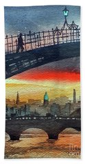 Hapenny Bridge Sunset, Dublin...27apr18 Bath Towel